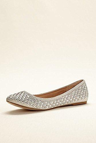Crystal Embellished Ballet Flat Style BABA1 White 7.5 ...